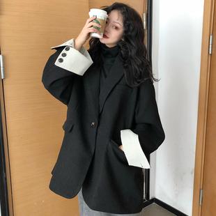 秋冬2018女装赫本风气质西装领毛呢外套中长款黑色呢子大衣潮