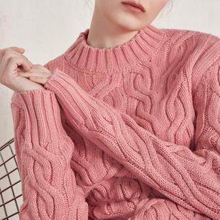 奥芝国很仙的上衣洋气毛衣慵懒风羊毛粉色加厚2018秋冬针织毛衣女