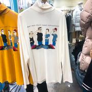 韩国东大门2018秋季小高领人物卡通印花打底T恤女甜美上衣潮