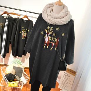 秋冬欧货刺绣小鹿圣诞节中长款磨毛加厚七分袖t恤女学生宽松大码