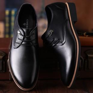 蜘蛛王皮鞋男士商务真皮正装鞋黑色透气秋季英伦