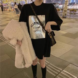 2019春字母印花T恤打底衫宽松中长款半袖短袖上衣女装