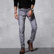 春夏薄款潮流灰色牛仔裤男小直筒水洗做旧复古小脚高弹力