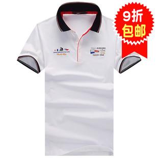 鲨鱼2019男装 男士丝光棉短袖T恤运动古老条纹衫纯棉T恤