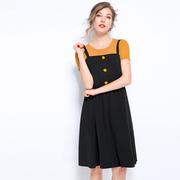 雅婷胖妹妹2019夏季大码女装吊带时尚百搭套装连衣裙女7162