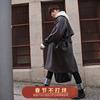 港风大衣男复古中长款男士长款大衣过膝呢子冬季毛呢外套网红风衣