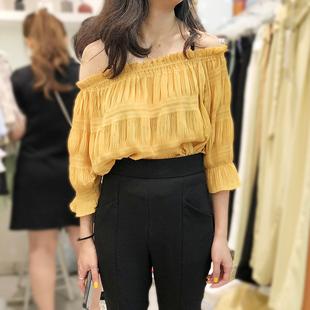 2019夏季韩国ulzzang时尚露肩一字领百搭七分袖纯色T恤女上衣