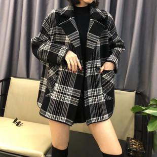 2018秋冬双面毛呢西装领格子毛衣外套女加厚宽松针织开衫短款