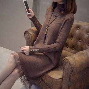 半高领中长款针织连衣裙女春装2019很仙的裙子蕾丝打底毛衣裙