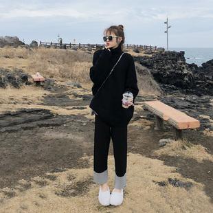 大码女装2018胖妹妹冬装洋气套装显瘦毛衣阔腿裤网红两件套装