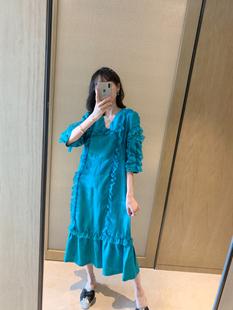 张静芝韩国东大门 淑女孔雀蓝蕾丝边荷叶摆气质中长丝麻长裙