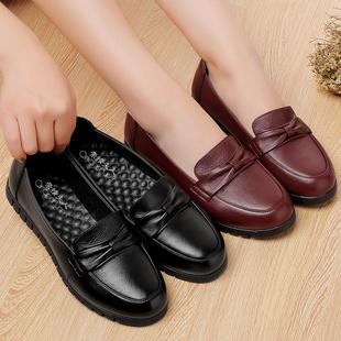 春秋43大码奶奶鞋真皮软底平跟中老年人妈妈鞋单鞋女平底防滑