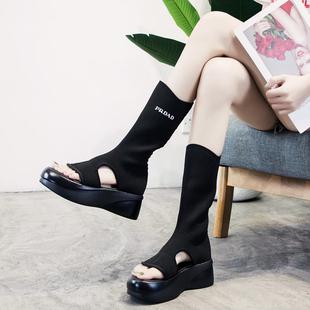 2019夏季夹趾凉鞋弹力单靴子女春秋厚底防水台短靴两穿中筒靴
