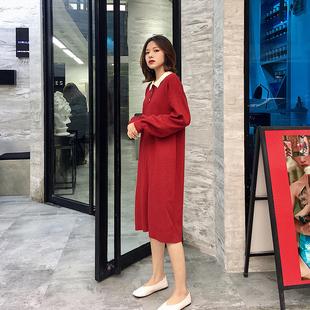 过年红针织连衣裙冬女本命年简约韩国chic学生polo领翻领毛衣长裙