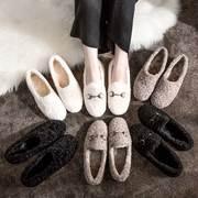 毛毛鞋女冬外穿2018网红平底一脚蹬羊羔毛加绒豆豆鞋棉鞋女鞋