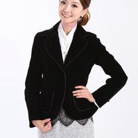 包邮秋季专柜女装 休闲小西装 高档金丝绒黑紫色小外套 职业工装