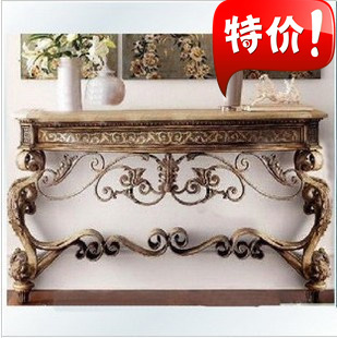 Wrought iron table wrought iron console table desk Iron case long table against the wall half Roundtable Showcase table