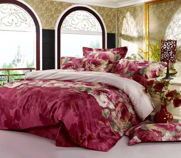 新品包邮 活性四件套 家纺 全棉斜纹 婚庆 红床上用品高支密纯棉