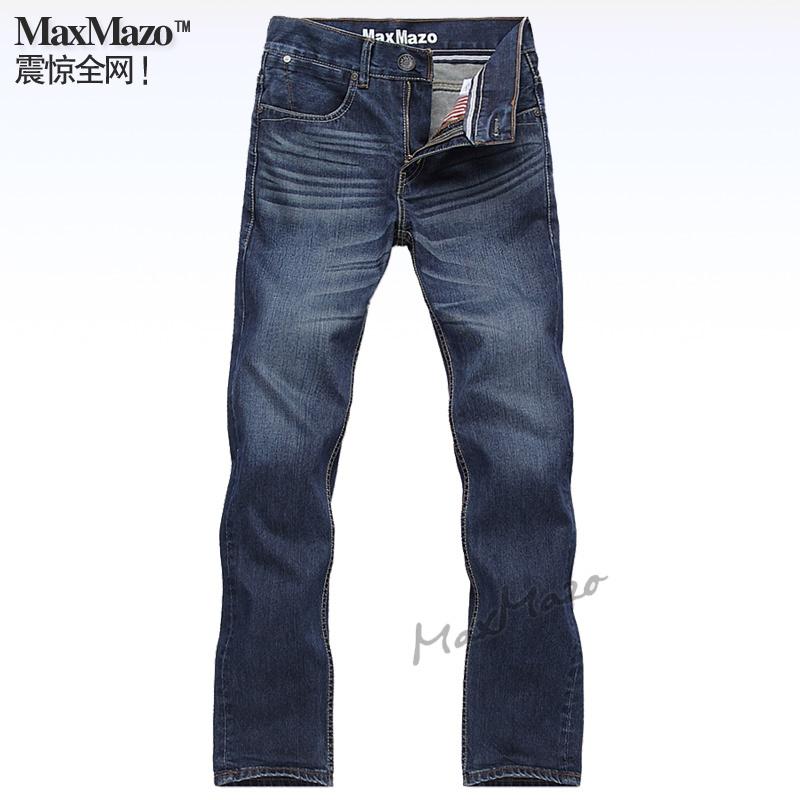 Джинсы мужские MaxMazo . .6 Прямые брюки Классическая джинсовая ткань