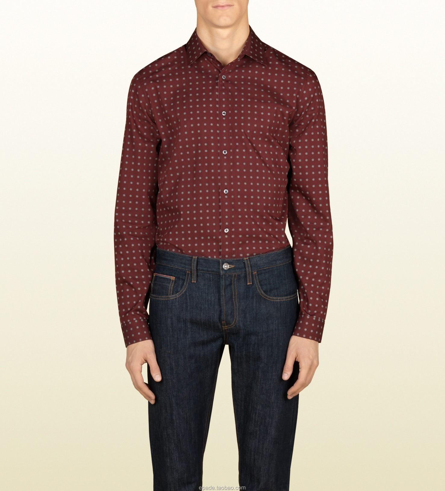 Рубашка мужская Gucci 189474z79976011 Хлопок без добавок Воротник с пуговицами Длинные рукава ( рукава > 57см )