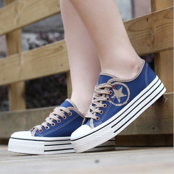 Fei Yao genuine help low canvas shoes women shoes Korean version of casual shoes cake students learn simple wave of female heavy-bottomed shoes