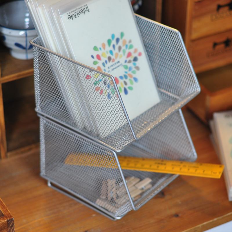 Настольный ящик для канцелярии Корзина хранения поле металлических канцелярских хранения беспорядок на рабочем столе внешней торговли бюро — — Цена одного