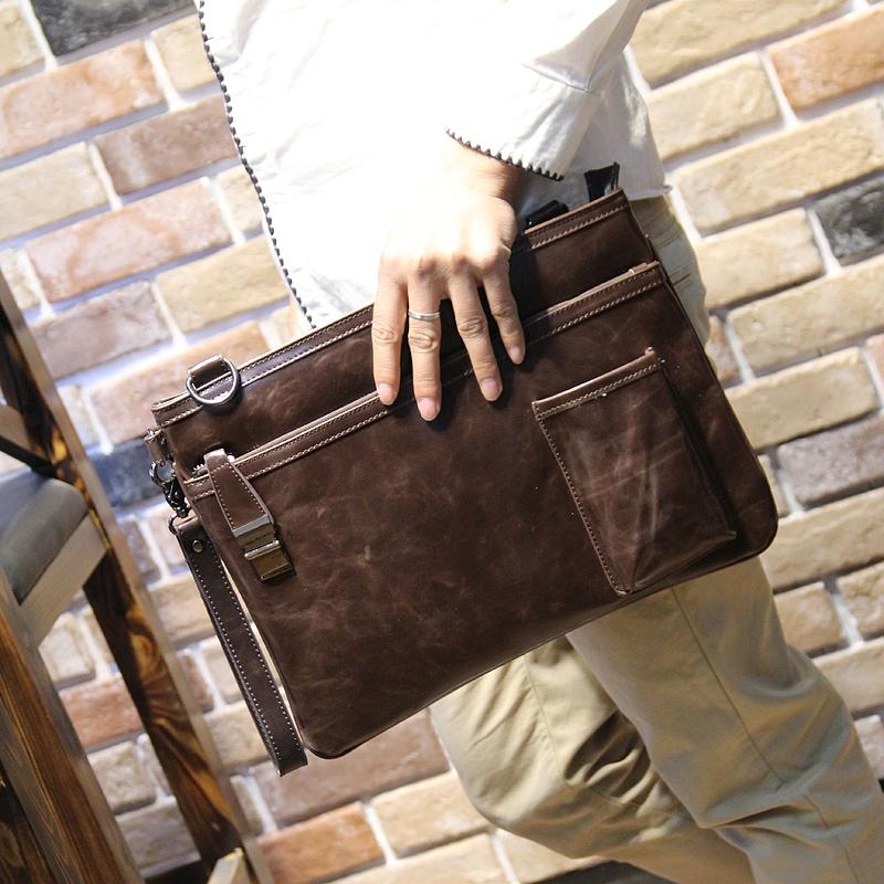 Новый корейский ретро мужской сцепление тенденция случайный файл пакет бизнес пакет общественное бумажный мешок плечо оригинальный дизайн