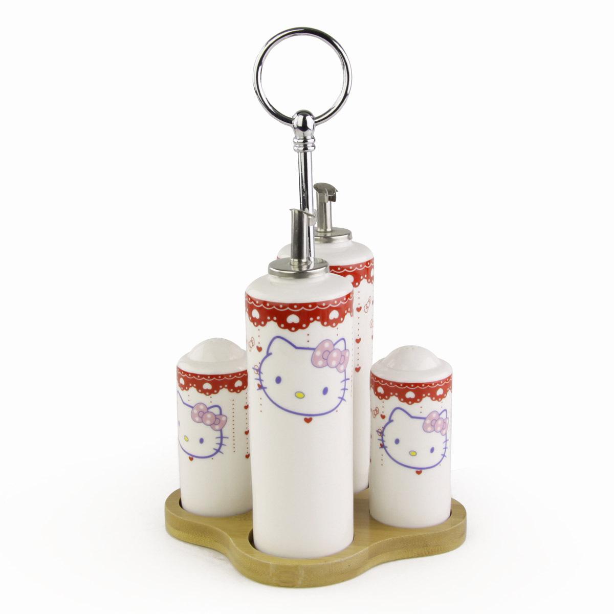 日日和 厨房用品创意hello kitty调味瓶胡椒瓶厨房陶瓷套装盐包邮