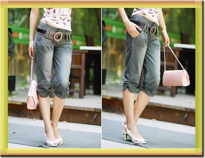 Джинсы женские Внешней торговли запасы белый манжетой обрезанный джинсы, смешанного с упаковка Оптовая цена тег смешанные партии