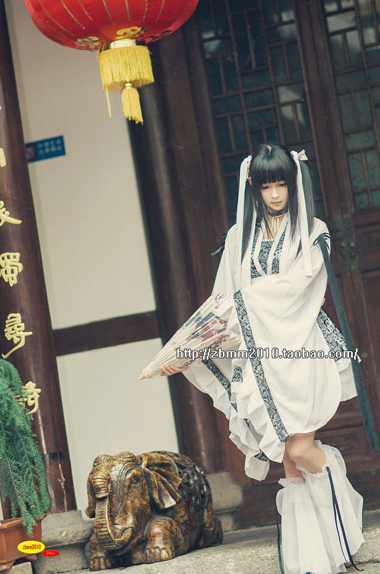天天特卖幼年林奉紫 华丽万用短款萌萝莉小古装 cos cosplay 糖宝 黑 白色
