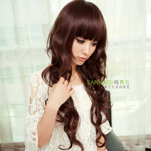 Black hair girl wig long fluffy oblique wave high temperature wire long curly hair wig fringe girl