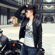 Men's kamenjiesi men's short motorcycle leather collar Korean version of slim leather jacket men's jacket