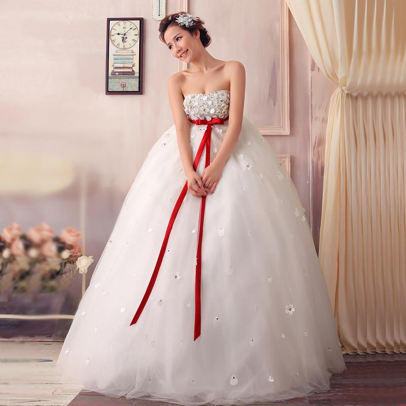 2013新款韩版高腰孕妇婚纱 甜美公主抹胸齐地绑带大码婚纱礼服