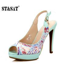 星期六品牌春夏新款女鞋 时装鱼嘴防水台高跟凉鞋SS41117639包邮图片