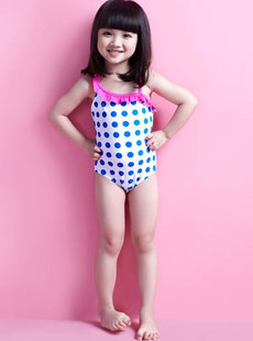 Basha dreams children's wear cute new 2012 dot shoulder piece children's clothing swimwear 014112209
