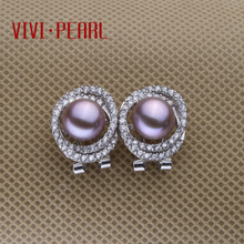 VIVI natural freshwater pearl diamond earrings stud earrings full s925 silver pearl earrings large particles pearl earrings