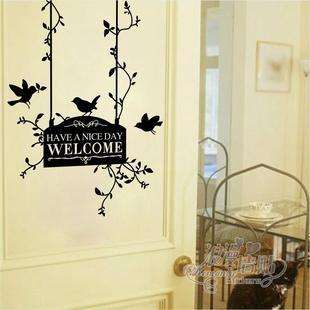浪漫墙贴 玻璃贴 店铺墙贴小鸟路牌welcome玄关卧室入户门
