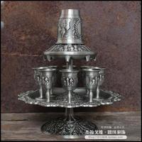 欧式复古创意礼品套装 俄罗斯锡器分酒器 古典怀旧锡制酒具酒杯