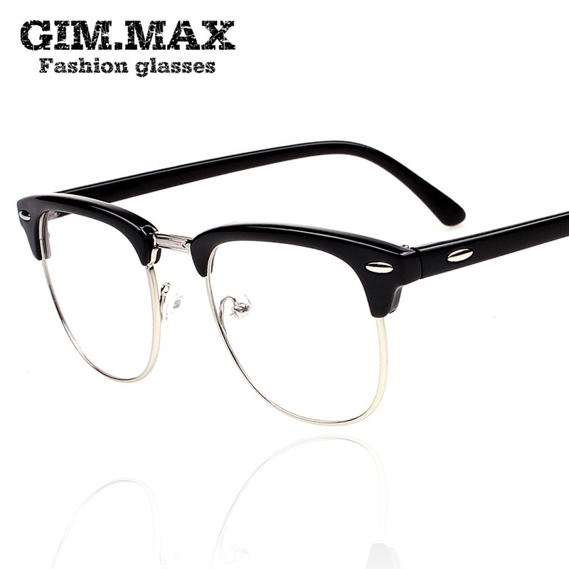 Authentic Vintage black-framed eyeglasses frame men Chao actresses glasses frame and a half boxes of non-mainstream personalities Optical glasses