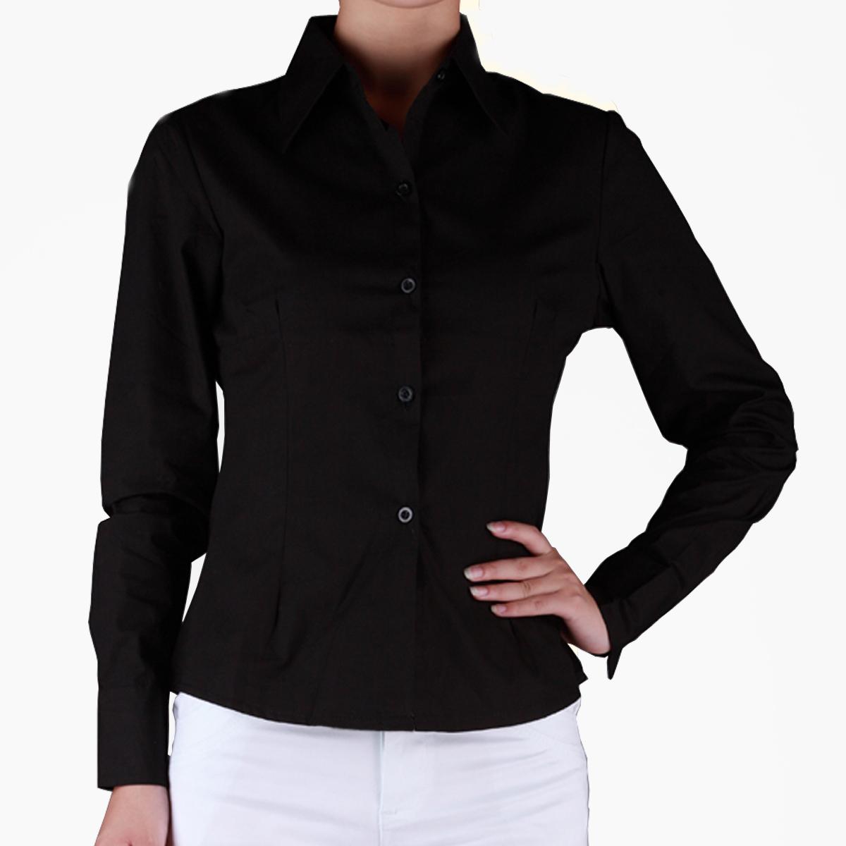женская рубашка Дешевые рубашки женщин длинные рукава лацканы рубашка черный хлопок c05-1-ол собственного профессионального инструмента XL Повседневный Длинный рукав Однотонный цвет
