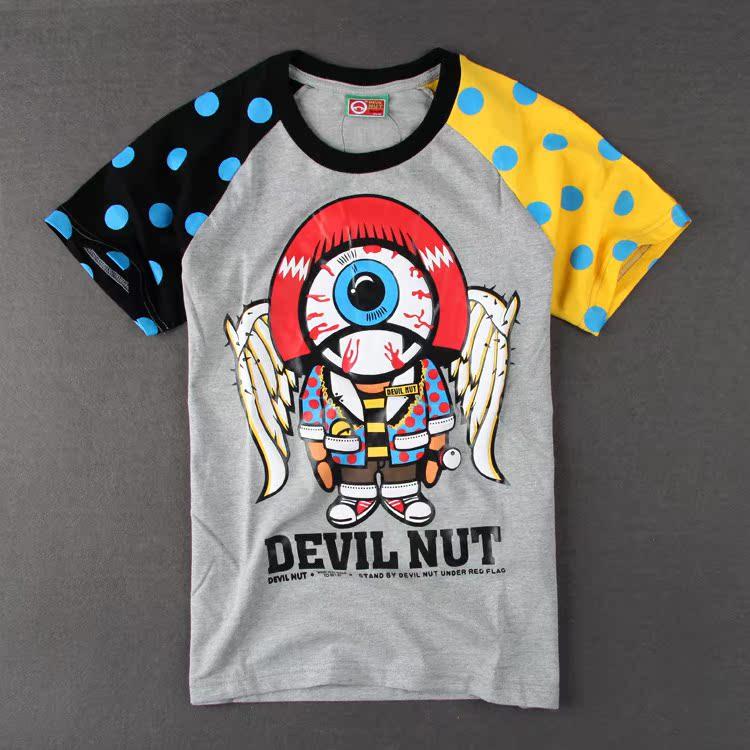 Футболка мужская Уличная мода дьявола орех новый цвет соответствия короткий рукав футболки для мужчин и женщин t плод дьявола мультфильм аниме любителей