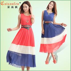 夏季新款加大码女装雪纺打底连衣裙 波西米亚长裙