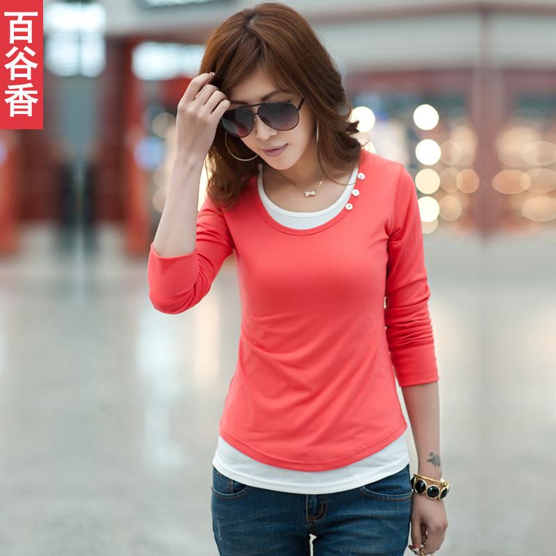 百谷香2012春装新款韩版打底衫低领长款衣服女装潮大码长袖T恤 女