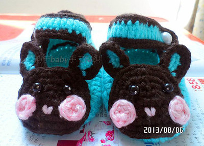 Hand-woven wool shoes baby shoes, baby shoes before step shoes cute cartoon bunny shoes new soft-soled shoes
