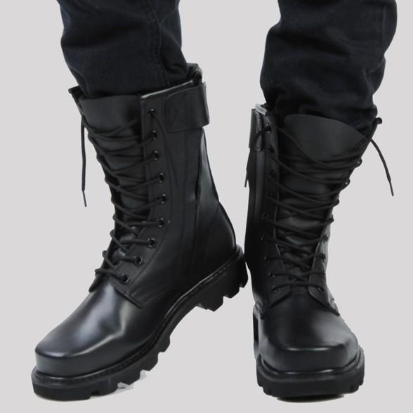 正品牛皮军靴 男特种兵作战靴 钢头钢底马丁靴 男士真皮靴子男靴