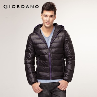 2012 Giordano men's jacket qingnuan zipper hood Teflon down jacket 01071522