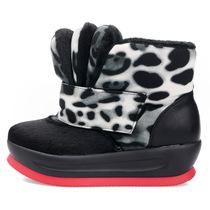 2012冬款个性三鞋舌豹纹马毛雪地靴女靴棉靴坡跟厚底短靴保暖女鞋