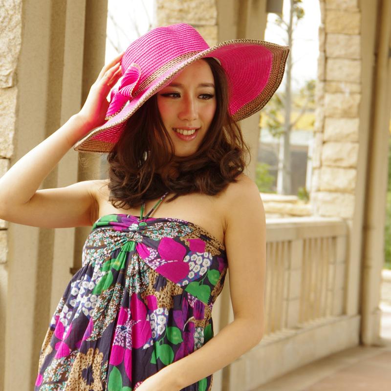 夏季草帽 韩版时尚 休闲蝴蝶结出游必备可爱女士遮阳帽子JY07