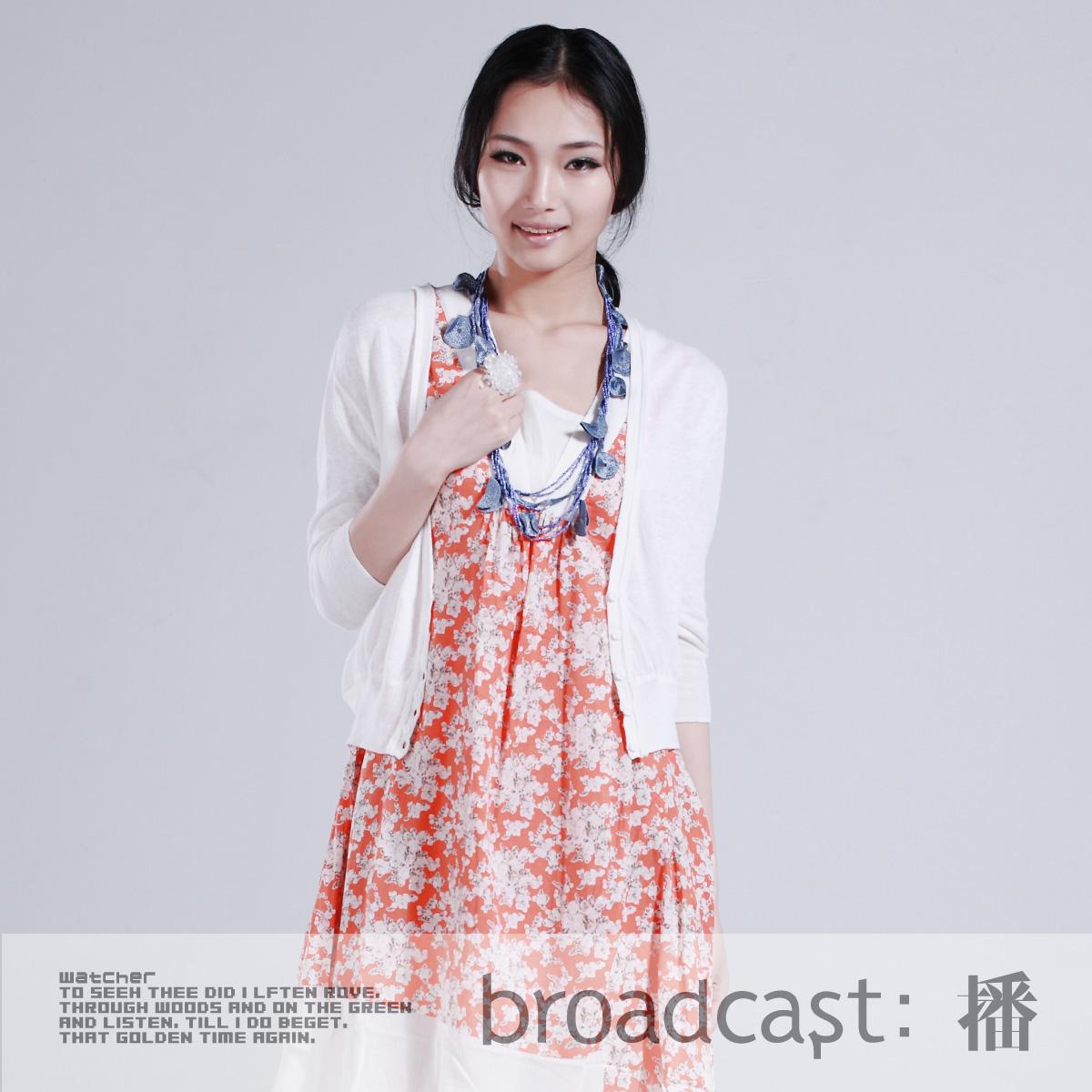 播 与奶茶对话 韩版宽松糖果色薄款七分袖针织开衫空调防晒衫女