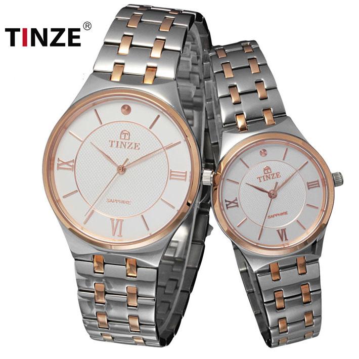Tinze天际男士手表 精钢石英机芯男表女表情侣表 防水时尚腕表